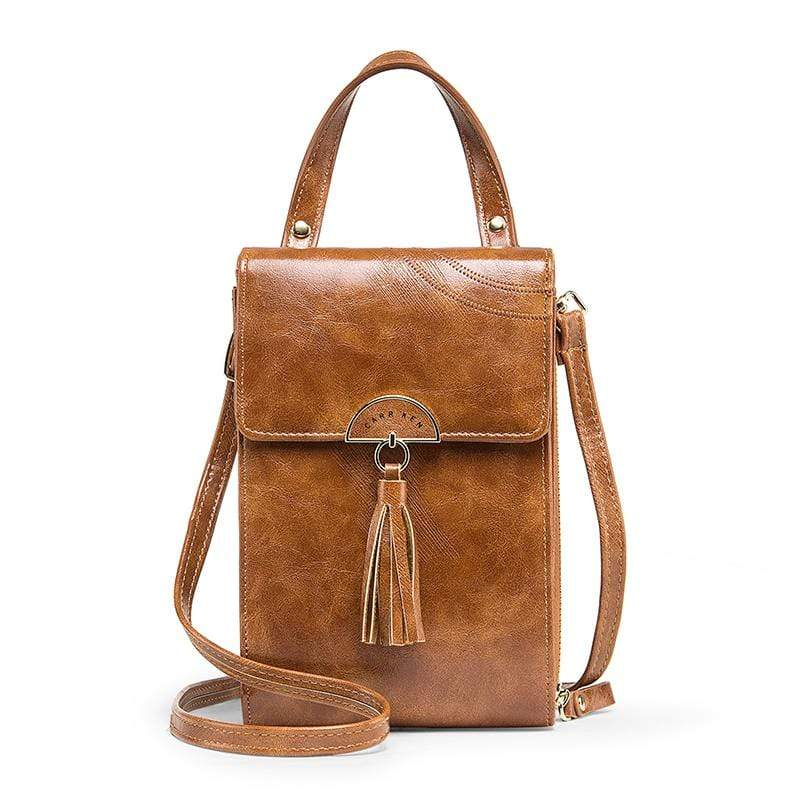 Obangbag Brown Women Vintage Cute Multi Layers Roomy Portable Leather Phone Bag Wallet Crossbody Bag
