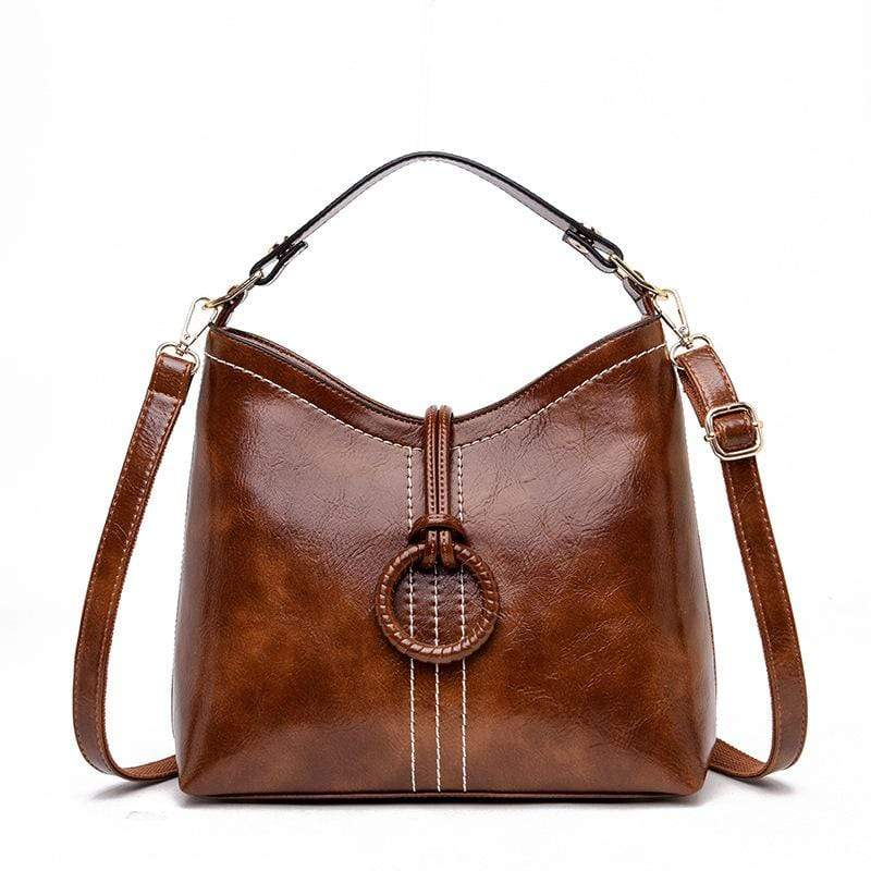 Obangbag Brown Women Vintage Elegant Large Capacity Lightweight Oil Wax Leather Bucket Bag Handbag Crossbody Bag