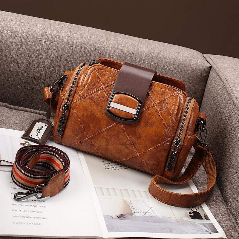 Obangbag Brown Women Vintage Elegant Large Capacity Multi Pockets Multifunction Oil Wax Leather Handbag Shoulder Bag Crossbody Bag