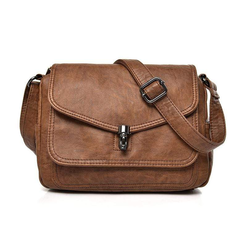 Obangbag Brown Women Vintage Elegant Roomy Multi Pockets Professional Soft Leather Crossbody Bag