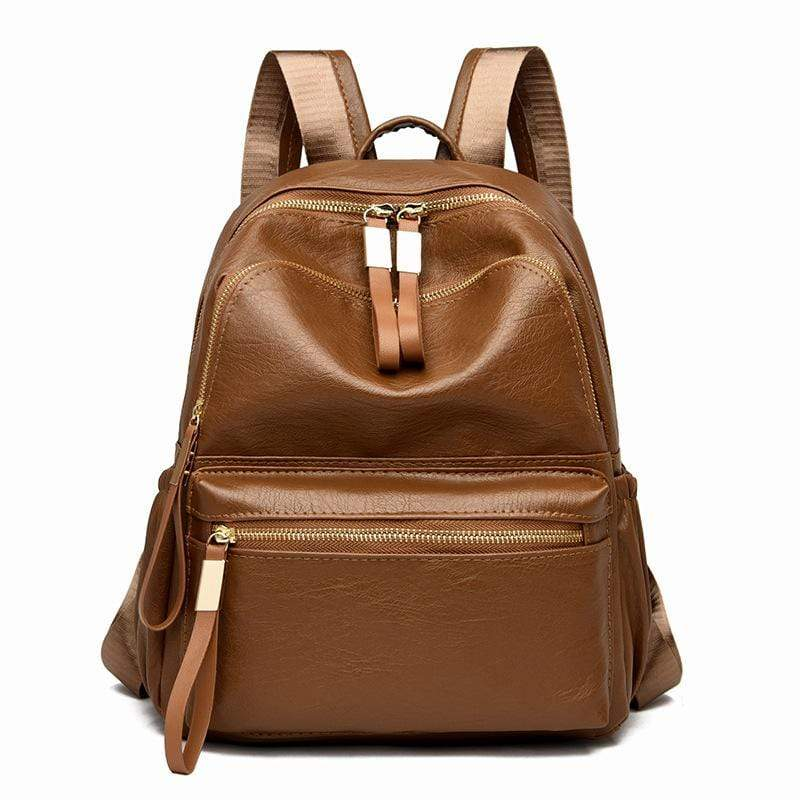 Obangbag Brown Women Vintage Fashion Double Zipper Large Capacity Multi Pockets Leather Backpack Bookbag