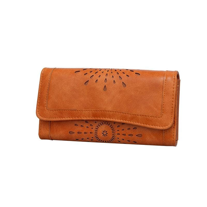 Obangbag Brown Women Vintage Fashion Floral Multi Layers Leather Wallet Purse Clutch