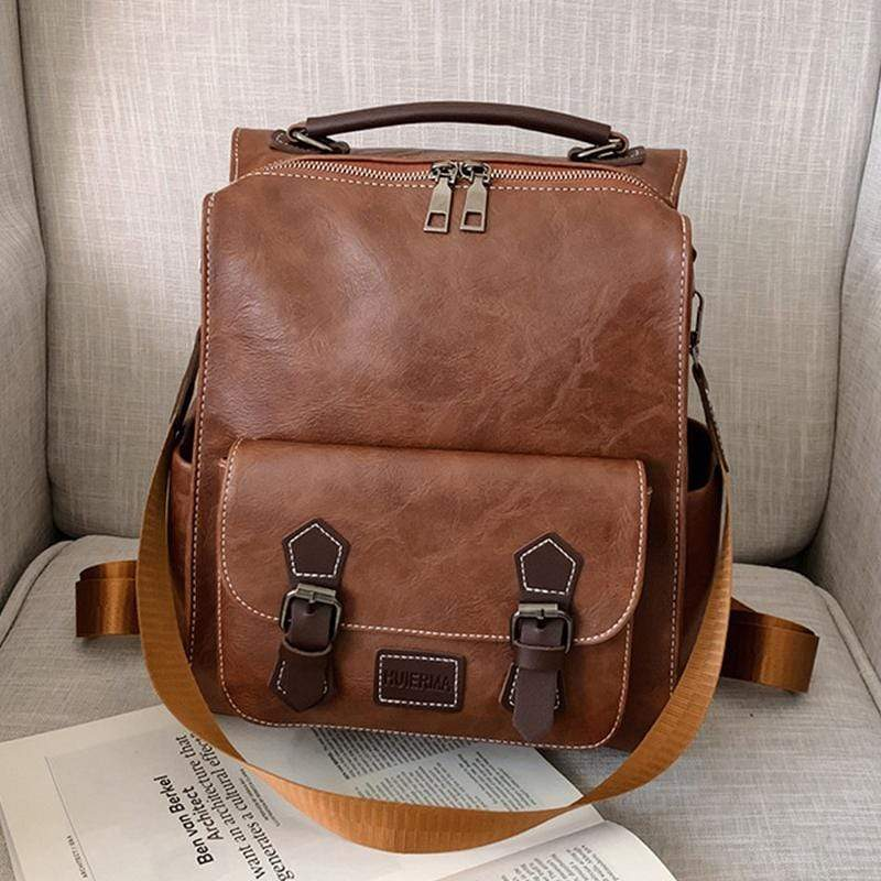 Obangbag Brown Women Vintage Fashion Large Capacity Multifunction Leather Backpack Shoulder Bag for Work for Travel