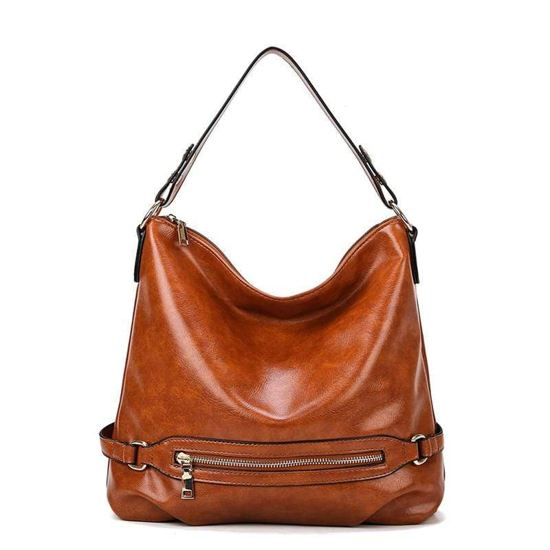 Obangbag Brown Women Vintage Fashion Large Capacity Roomy Anti-theft Leather Tote Bag Crossbody Bag for Work