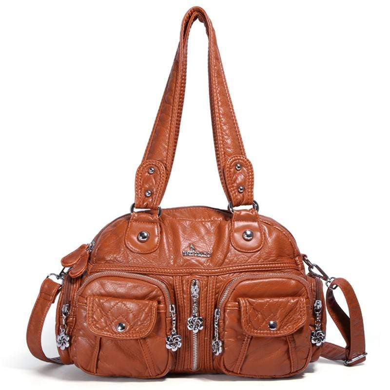 Obangbag Brown Women Vintage Fashion Professional Multi Pockets Roomy Soft Leather Shoulder Bag Crossbody Bag