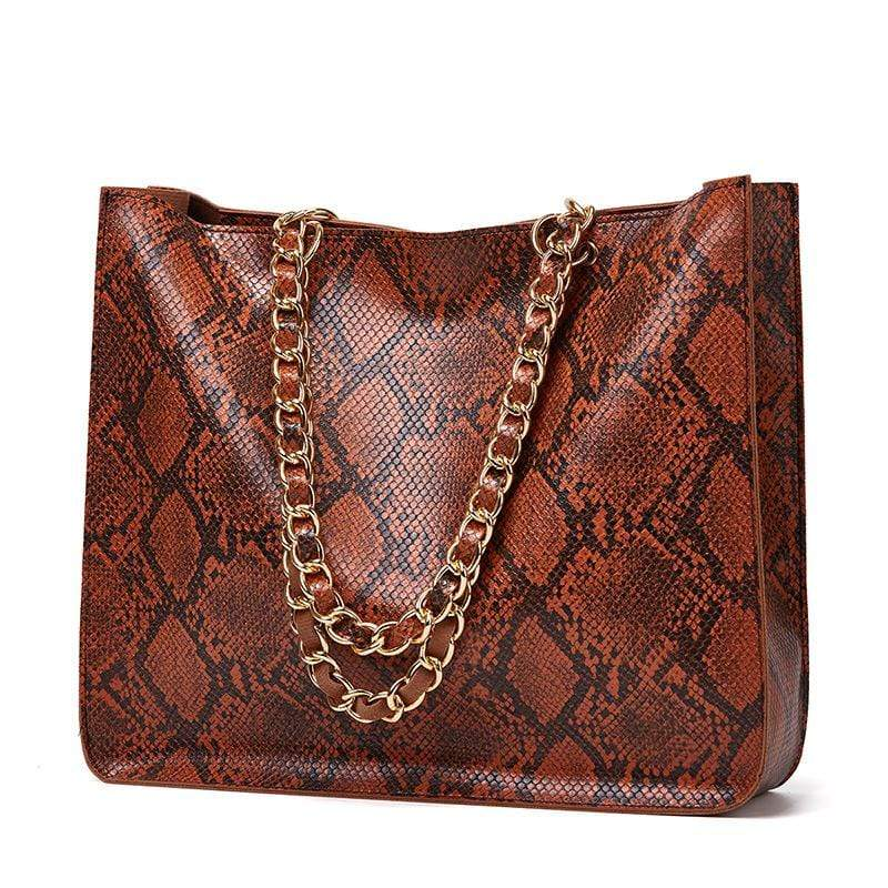 Obangbag Brown Women Vintage Large Capacity Lightweight Multifunction Snake Skin Pattern Leather Handbag Shoulder Bag Chain Bag