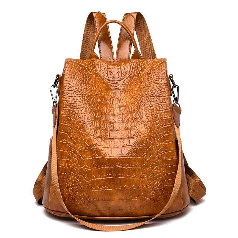 Obangbag Brown Women Vintage Large Capacity Multifunction Anti-theft Crocodile Pattern Leather Backpack Shoulder Bag