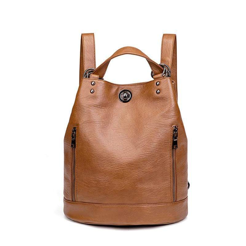 Obangbag Brown Women Vintage Large Capacity Multifunction Multi Pockets Leather Bucket Bag Backpack Shoulder Bag for Work for Travel