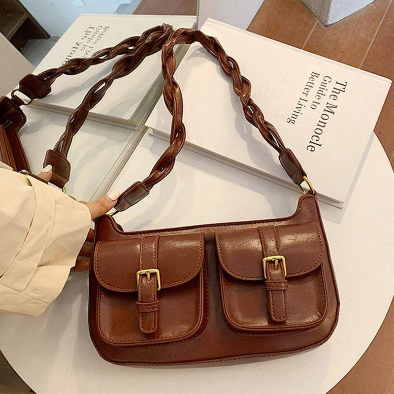 Obangbag Brown Women Vintage Mini Chic Roomy Lightweight Woven Leather Handbag Underarm Bag