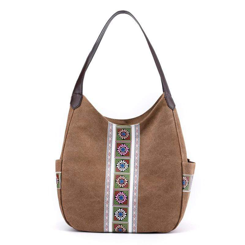 Obangbag Brown Women Vintage Multi Pockets Multi Layers Printed Roomy Canvas Tote Bag Handbag