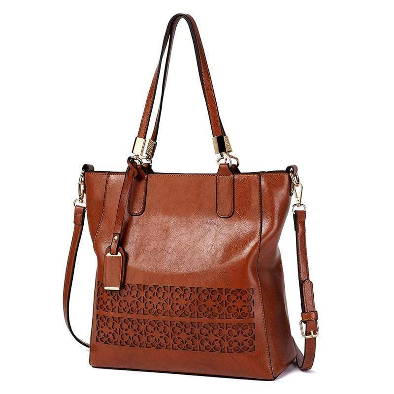 Obangbag Brown Women Vintage Multifunction Large Capacity Floral Oil Wax Leather Tote Bag Crossbody Bag Handbag