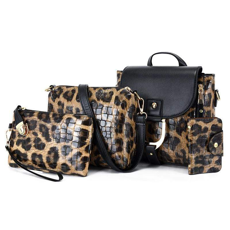Obangbag Brown Women Vintage Multifunction Roomy Leopard Pattern Leather Bag Set Backpack Crossbody Bag Purse