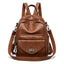Obangbag Brown Women Vintage Multifunction Roomy PU Leather Backpack Shoulder Bag Bookbag