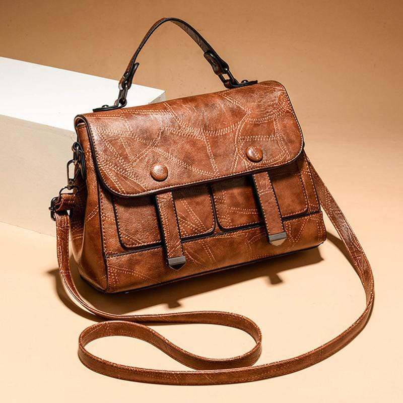 Obangbag Brown Women Vintage Professional Multi Pockets Multifunction Leather Handbag Crossbody Bag for Work