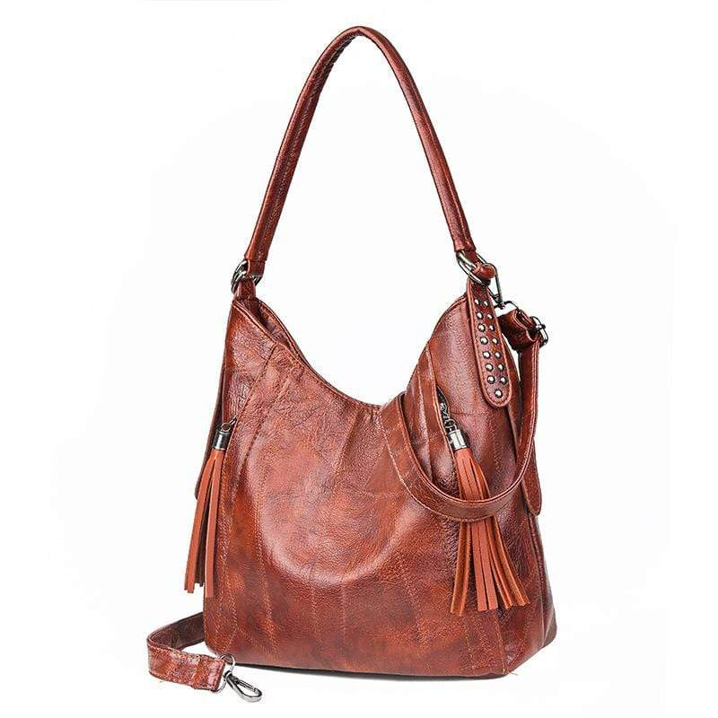Obangbag Brown Women Vintage Retro Big Large Capacity Professional Leather Handbag Crossbody Bag for Work