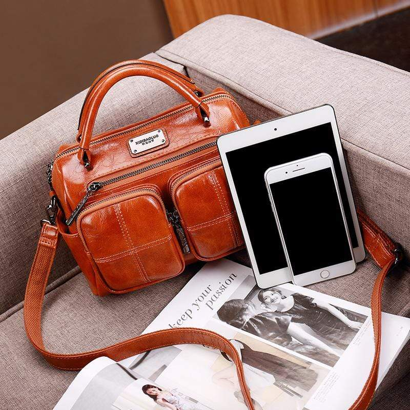 Obangbag Brown Women Vintage Retro Leather Large Capacity Multi Pocket Messenger Bag Handbag Shoulder Bag