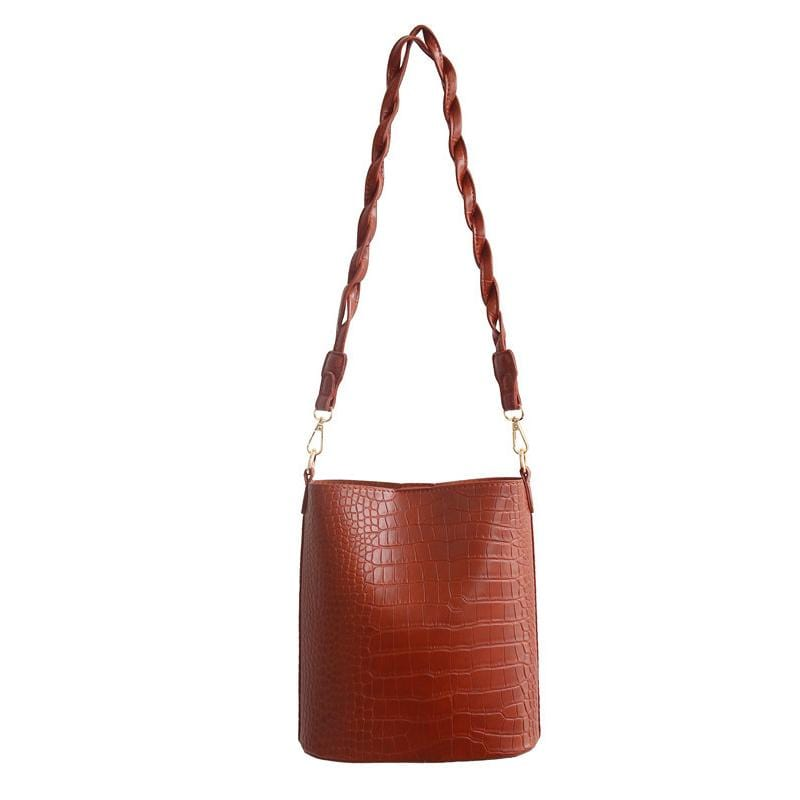 Obangbag Brown Women Vintage Roomy Lightweight Woven Daily Crocodile Pattern Leather Bucket Bag Bag Set Crossbody Bag