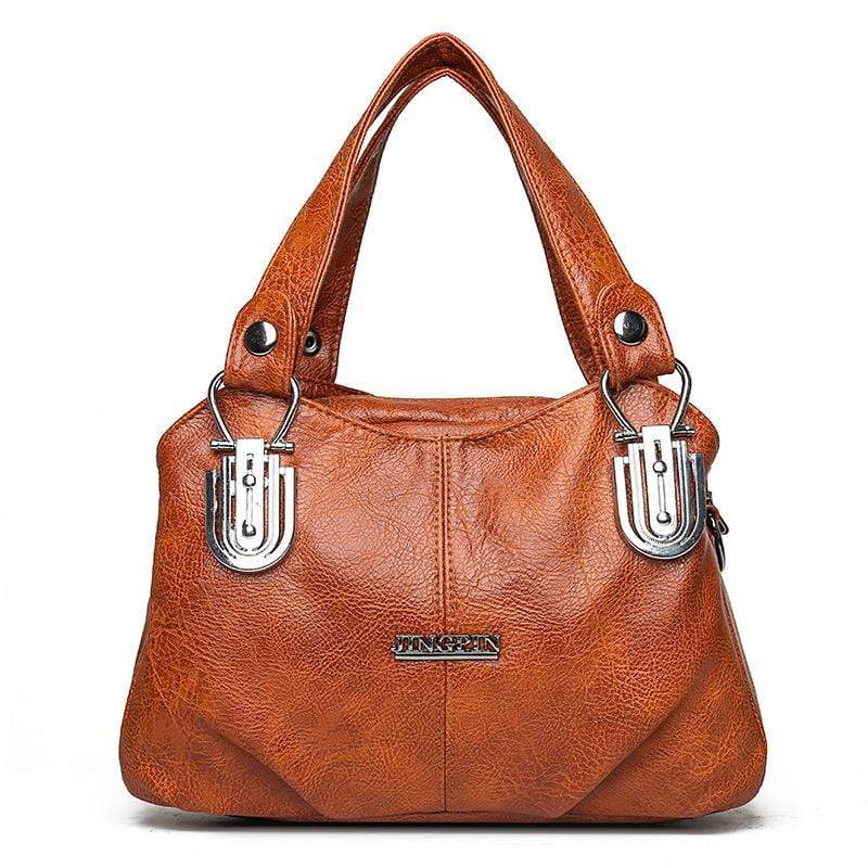 Obangbag Brown Women Vintage Roomy Multi Pockets Professional Soft Leather Handbag Crossbody Bag