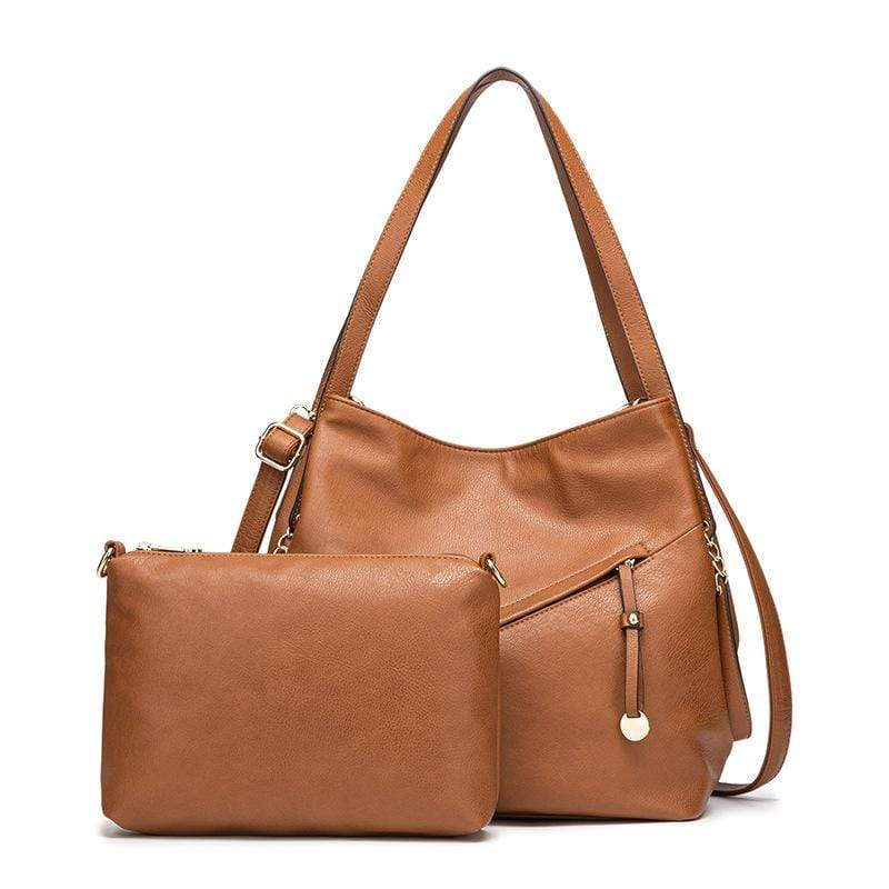 Obangbag Brown Women Vintage Simple Multi Pockets Anti-theft Soft Leather Bag Set Shoulder Bag Crossbody Bag