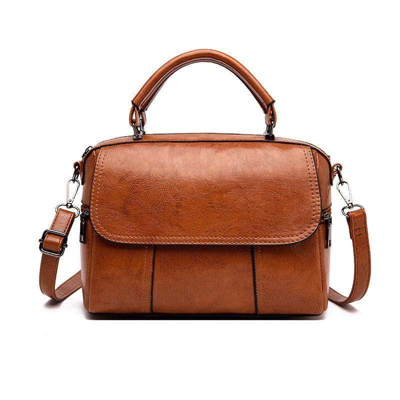 Obangbag Brown Women Vintage Simple Multi Pockets Large Capacity Leather Handbag Crossbody Bag for Work