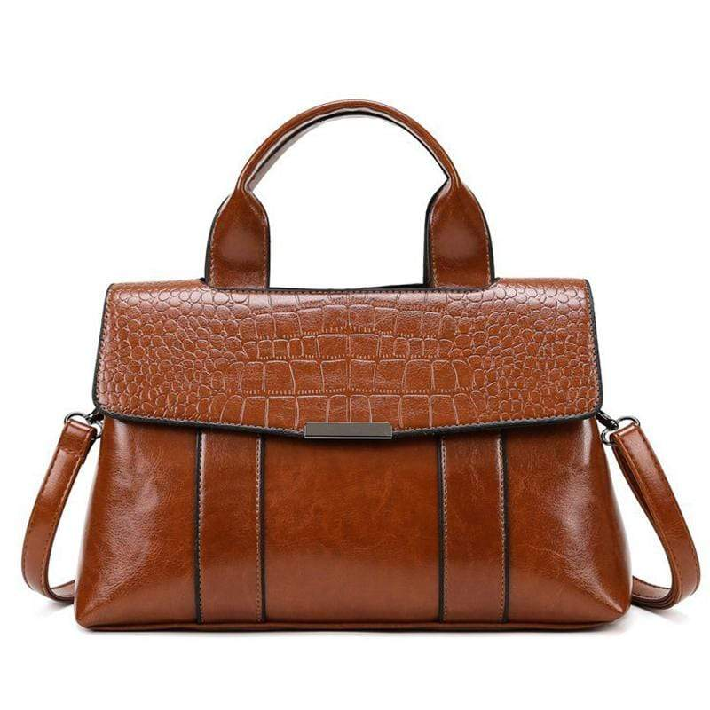 Obangbag Brown Women Vintage Simple Professional Roomy Multifunction Leather Handbag Crossbody Bag Briefcase