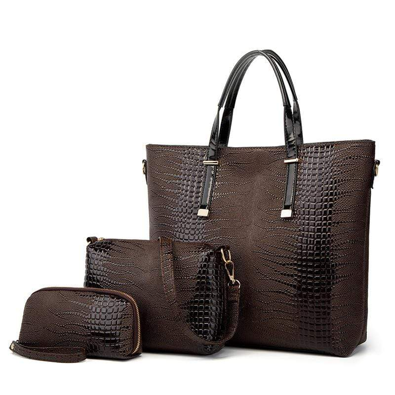 Obangbag Brown Women Vintage Stylish Large Capacity Multifuction Crocodile Pattern Leather Bag Set Crossbody Bag Purse