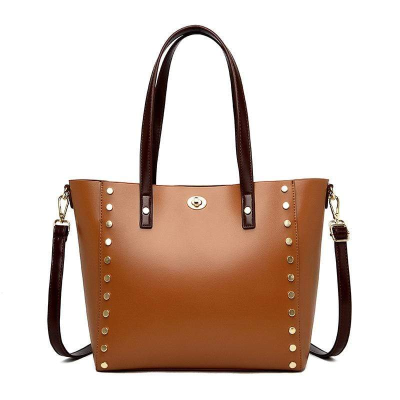 Obangbag Brown Women Vintage Stylish Large Capacity Multifunction Oil Wax Leather Tote Bag Handbag Crossbody Bag for Work