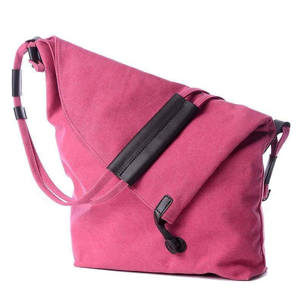 Obangbag Canvas & Leather Large Capacity Lightweight Crossbody Bag