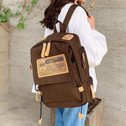 Obangbag Canvas Stitching Multi Pocket Unisex Work Backpack