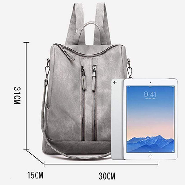 Obangbag Casual Retro Laptop Leather Work Backpack Shoulder Bag