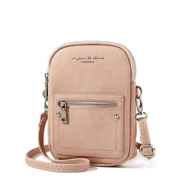 Obangbag Chic Douple Zipper Women Mini Phone Bag Crossbody Bag