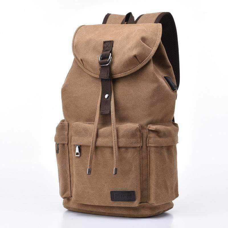 Obangbag Coffee Men Simple Big Large Capacity Multi Pockrts Outdoor Daily Canvas Backpack Bookbag