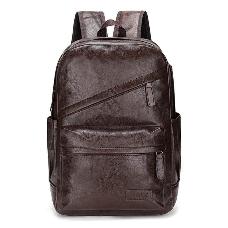 Obangbag Coffee Men Vintage Casual Outdoor Sport Roomy Multifunction Leather Backpack Bookbag for School