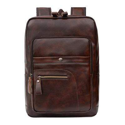 Obangbag Coffee Unisex Chic Casual Roomy Multifunction Leather Backpack Laptop Bag Bookbag for Travel for Work