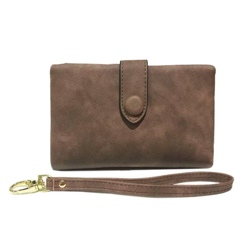Obangbag Coffee Women Chic Elegant Multi Layers Roomy Lightweight Leather Wallet Clutch Bag
