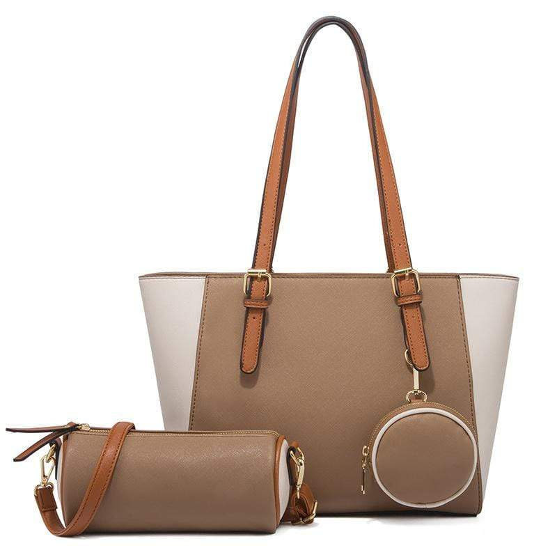 Obangbag Coffee Women Chic Multifunction Large Capacity Professional Leather Bag Set Hnadbag Purse Crossbody Bag for Work