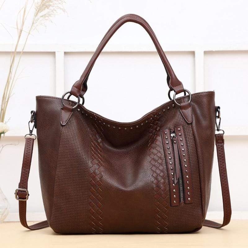 Obangbag Coffee Women Elegant Vintage Big Large Capacity Rivet Professional Leather Shoulder Bag Handbag Crossbody Bag