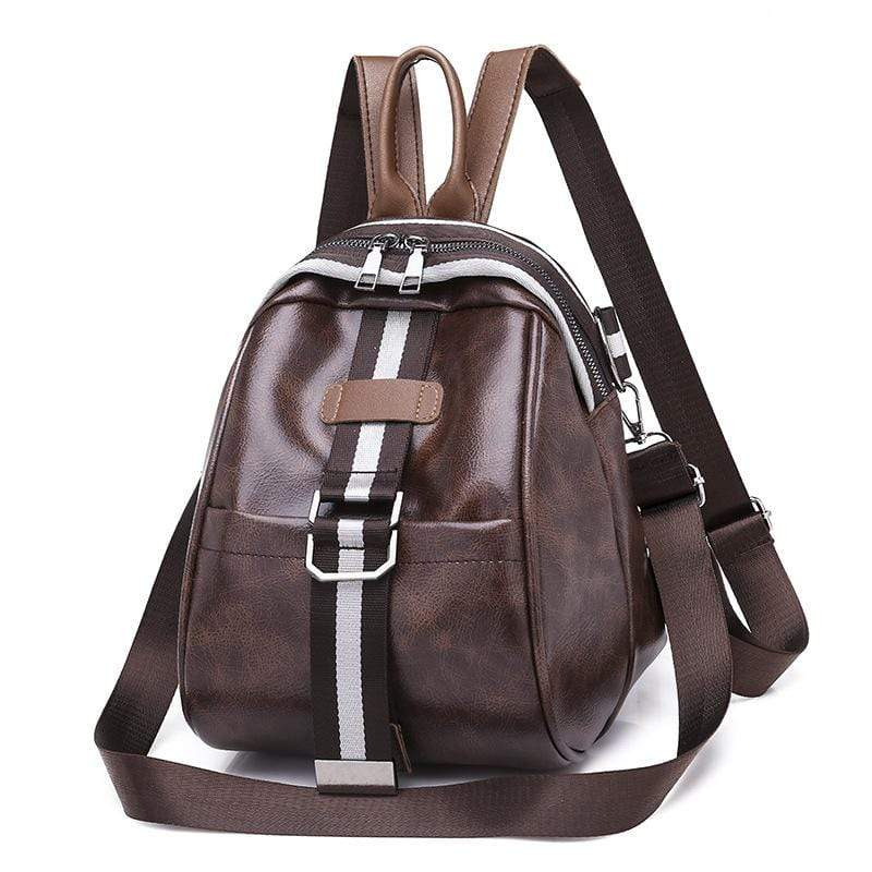 Obangbag Coffee Women Mini Roomy Stylish Lightweight Double Zipper Multifunction Leather Backpack Shoulder Bag Crossbody Bag