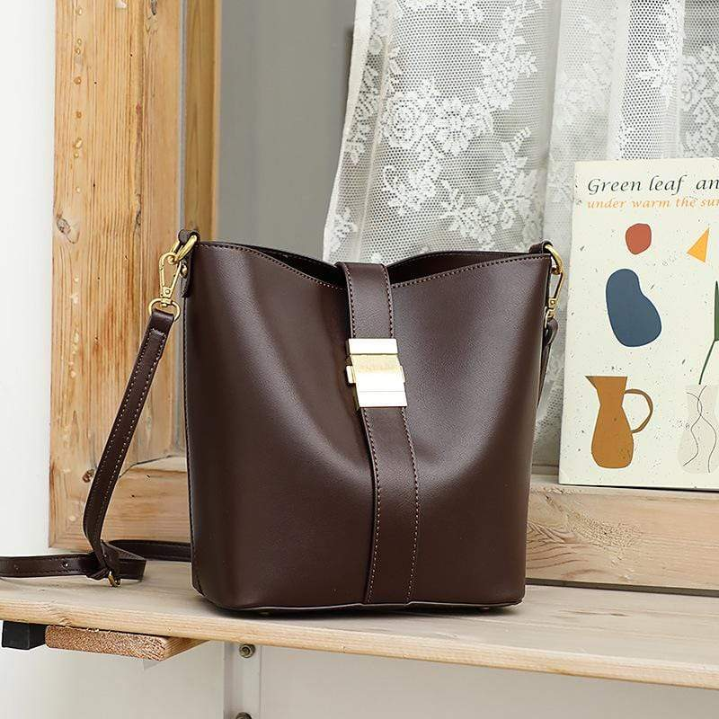 Obangbag Coffee Women Simple Vintage Roomy Leather Bucket Bag Bag Set Shoulder Bag for Work