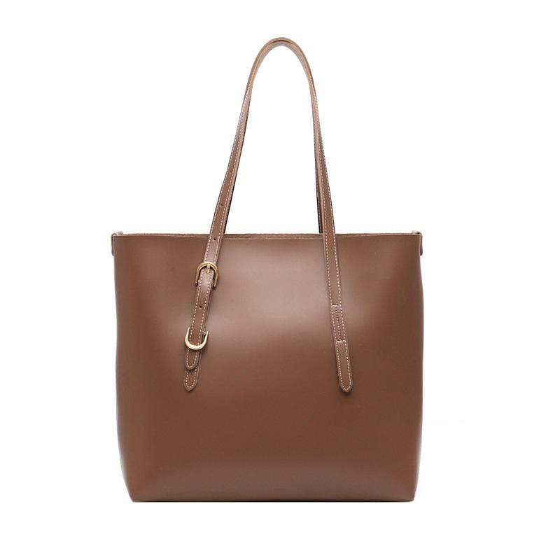 Obangbag Coffee Women Stylish Professional Big Large Capacity PU Leather Handbag Toter Bag Bag Set for Work