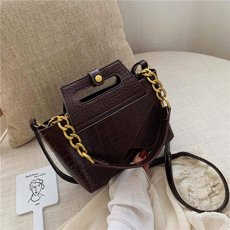 Obangbag Coffee Women Vintage Chic Fashion Roomy Multifunction Crocodile Pattern Leather Crossbody Bag Handbag Bag Set