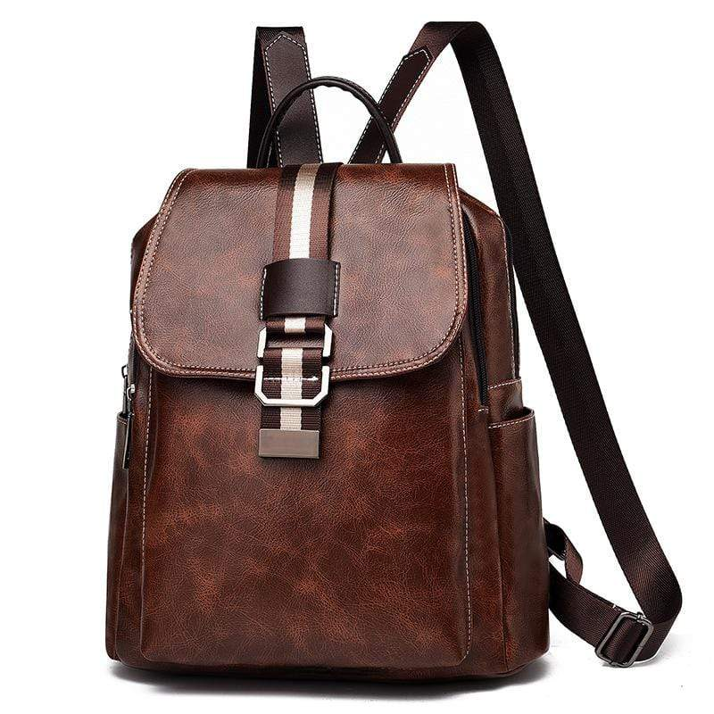 Obangbag Coffee Women Vintage Chic Roomy Multifunction Casual Soft Leather Backpack Bookbag