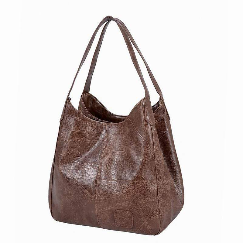 Obangbag Coffee Women Vintage Fashion Multi Layers Multi Pockets Daily Soft Leather Tote Bag Shoulder Bag