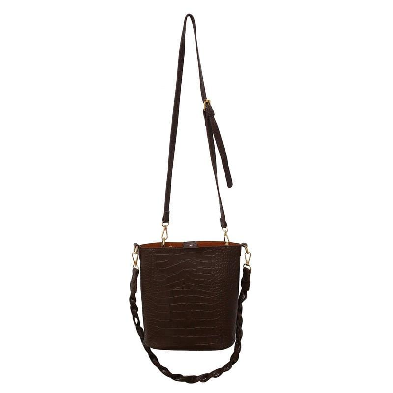 Obangbag Coffee Women Vintage Roomy Lightweight Woven Daily Crocodile Pattern Leather Bucket Bag Bag Set Crossbody Bag