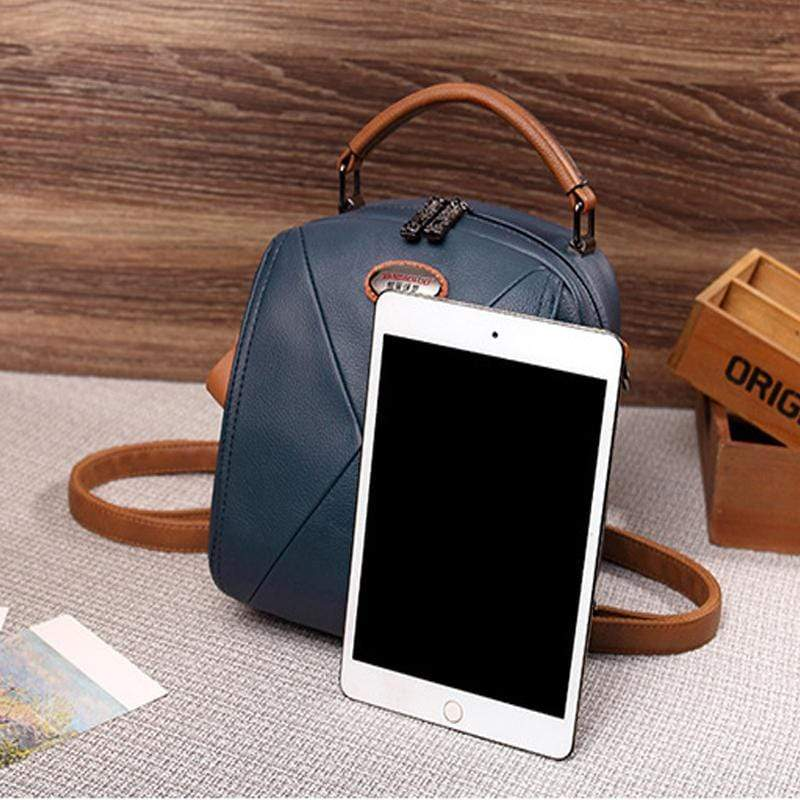 Obangbag Colorful Stylish Pockets Small Leather Professional Backpack Crossbody Bag