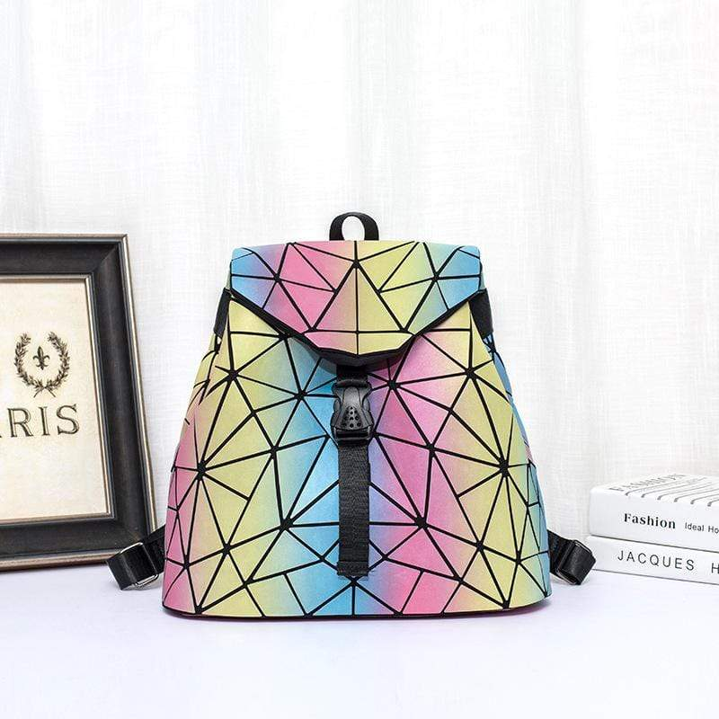 Obangbag Colorful Women Chic Cool Outdoor Foldable Colorful Leather Backpack Bookbag for School