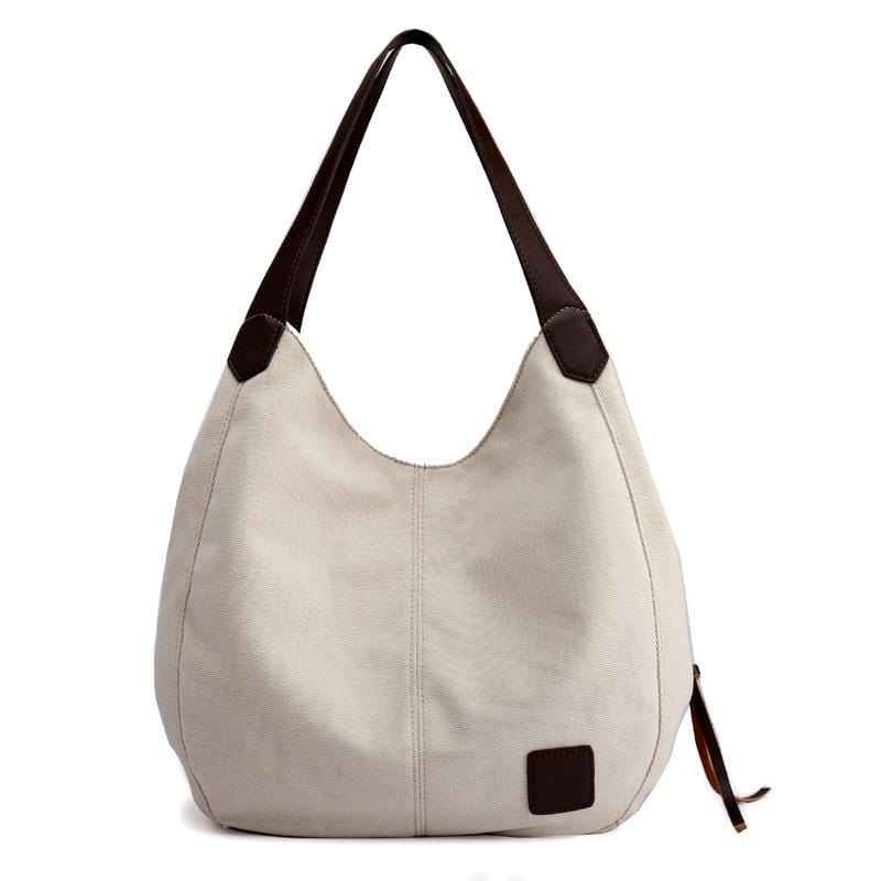 Obangbag Creamy-white Women Chic Vintage Roomy Multi Pockets Canvas Handbag Shoulder Bag