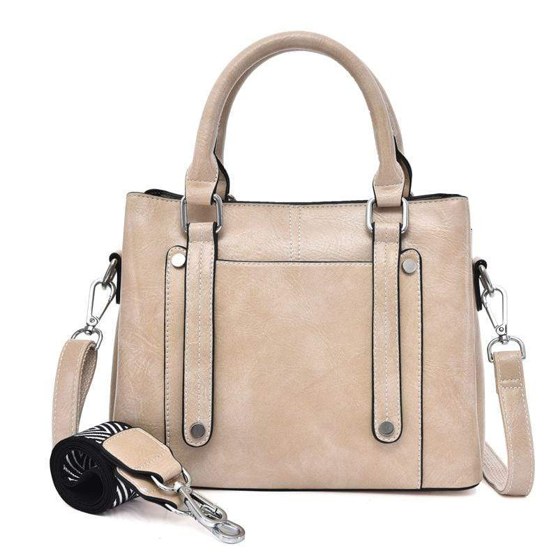 Obangbag Creamy-white Women Simple Vintage Big Large Capacity PU Leather Handbag Crossbody Bag