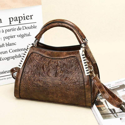 Obangbag Crocodile Skin Pattern Double Compartments Vintage Handbag Crossbody Bag