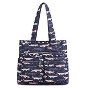 Obangbag Crocodile Waterproof Women's Large Capacity Canvas Travel Shoulder Bag Tote Bag